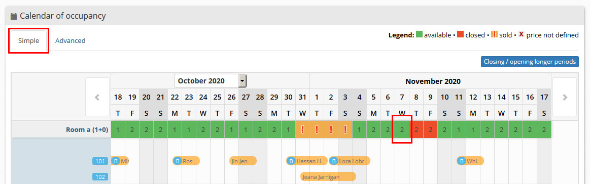 Calendar of Availability - simple view